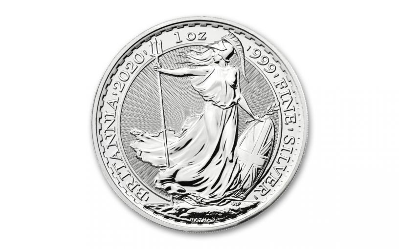 2020 Great Britain £2 1-oz Silver Britannia Brilliant Uncirculated