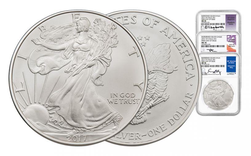 2017-W 1 Dollar Burnished Silver Eagle NGC MS70 FDI Jon-Moy Mercanti 3pc Set