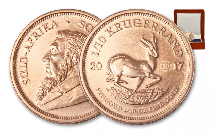 2017 South Africa 1/10-oz Gold Krugerrand BU with 50th Anniversary Mintmark