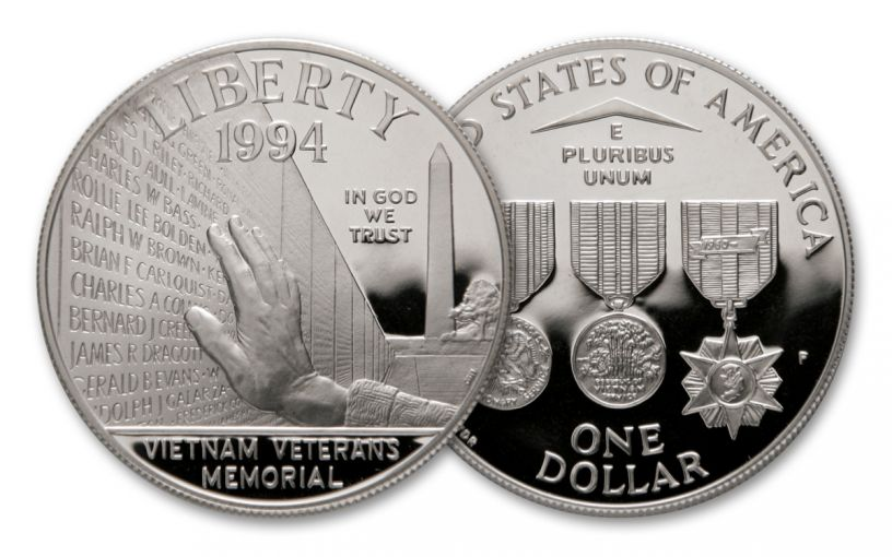 1994-P Vietnam Veterans Memorial Silver Dollar Proof