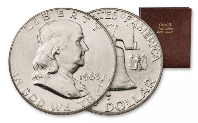1948–1963 Franklin Half Dollar 35-Coin Collection BU w/Dansco Album