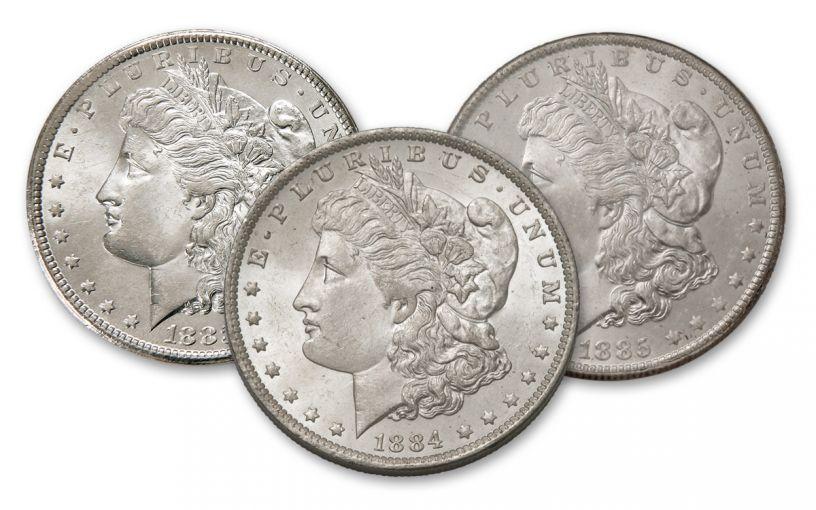 1883-1885-O Morgan Silver Dollar BU 3-Piece Set