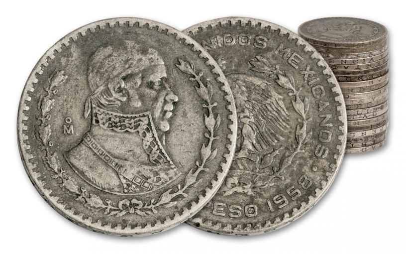 1957–1967 Mexico Silver Pesos 20-Coin Roll Circulated