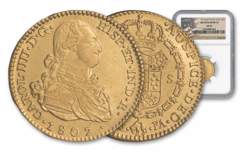 1772-1833 Spain Gold 2 Escudos NGC AU