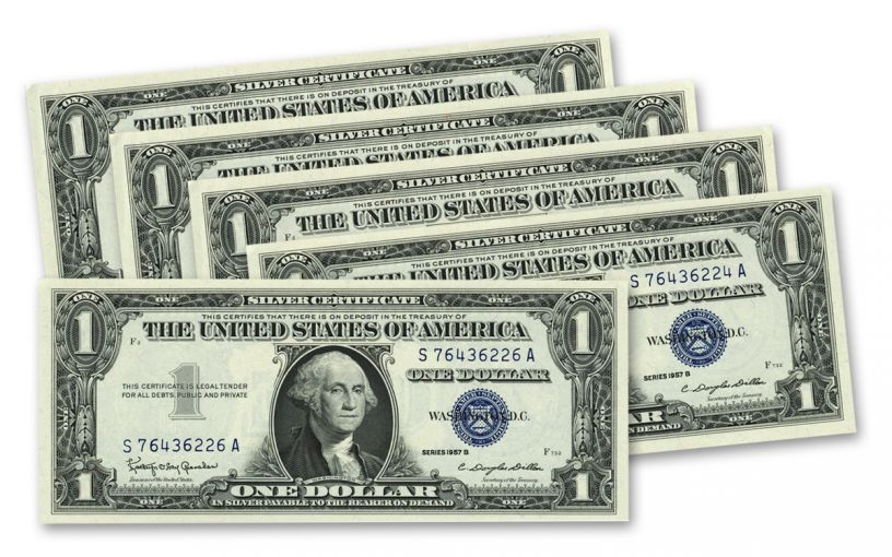 1957-B 1 Dollar Silver Certificate Sequential Set