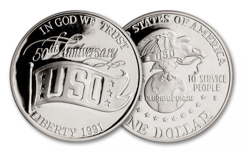 1991-S $1 Silver USO 50th Anniversary Commemorative Proof