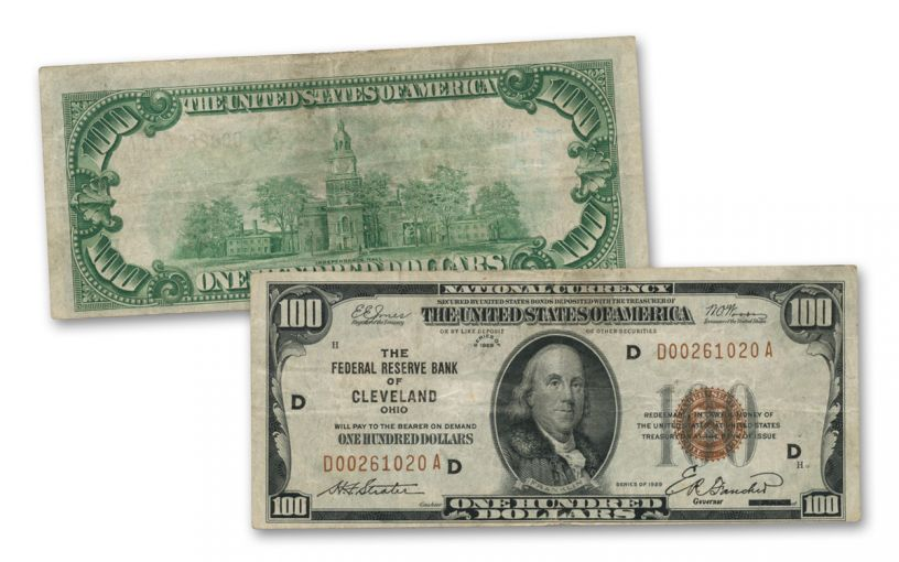 1929 Series $100 Federal Reserve National Bank Note Fine