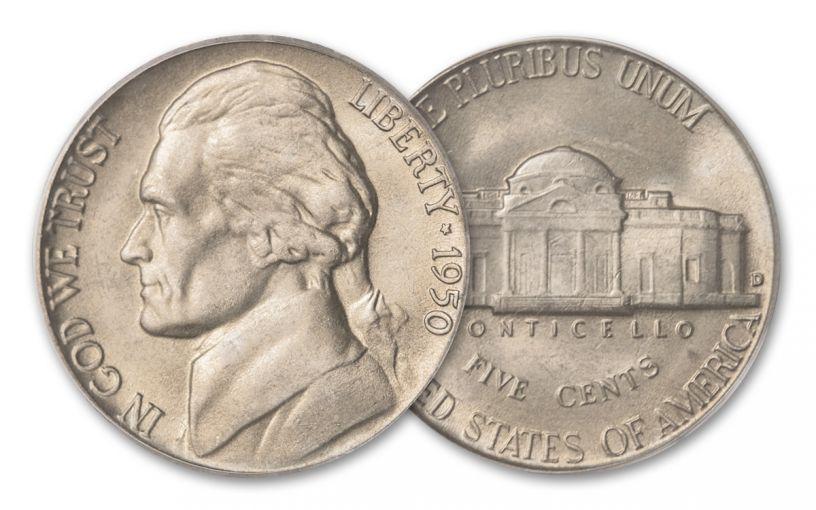 1950-D 5 Cent Jefferson Nickel BU