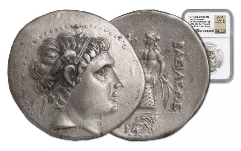 242-227 BC Seleucid Tetradrachm of Antiochus Hierax NGC CH VF