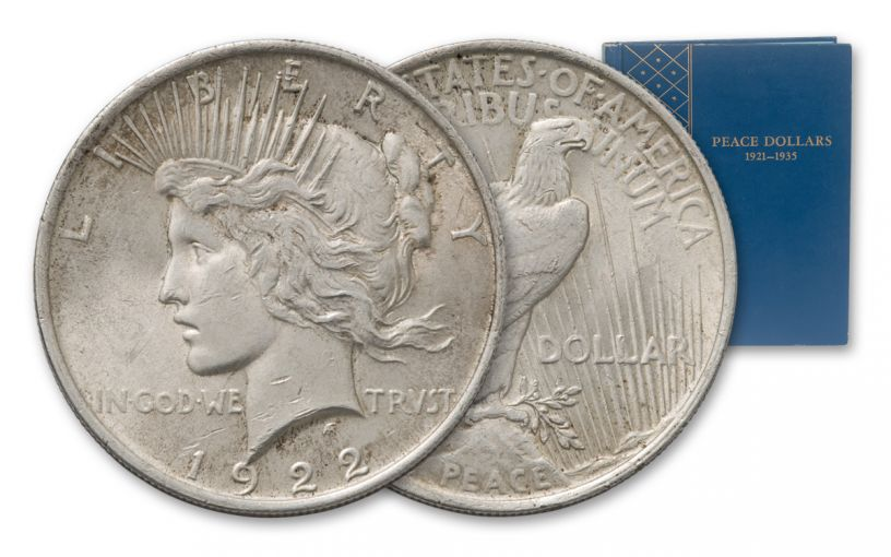 1921–1935 Silver Peace Dollar Complete 24-Coin Collection XF w/Album