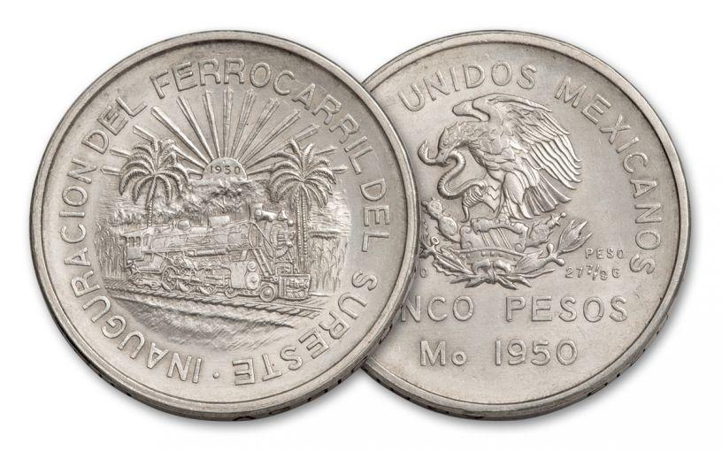 1950 Mexico 5 Pesos Silver Railroad Commemorative AU