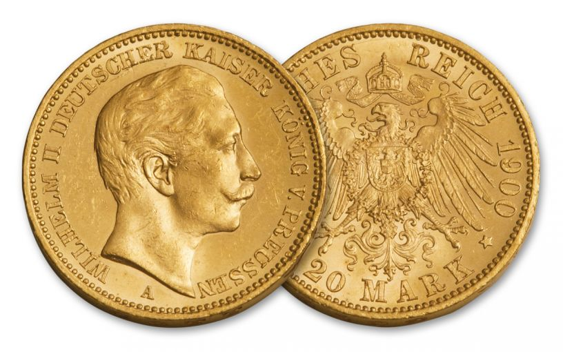 1888-1915 Germany 20 Marks 1/4-oz Gold Kaiser Wilhelm II BU