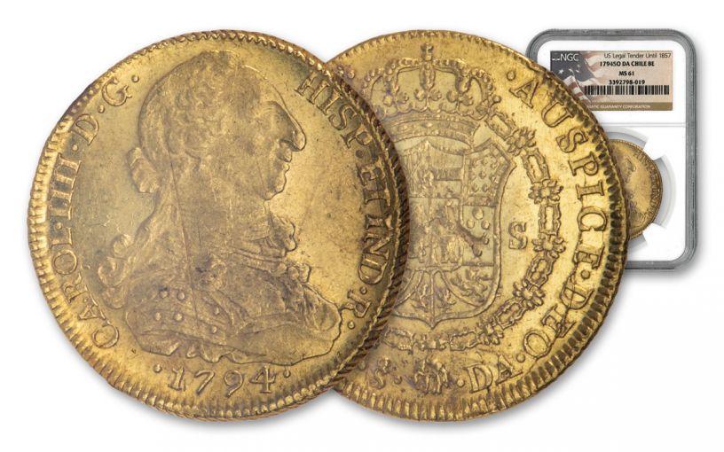 1794-So Chile Gold 8 Escudos NGC MS61