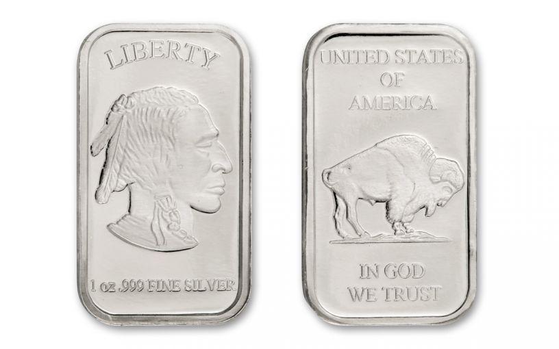 1-oz Silver Buffalo Bar BU