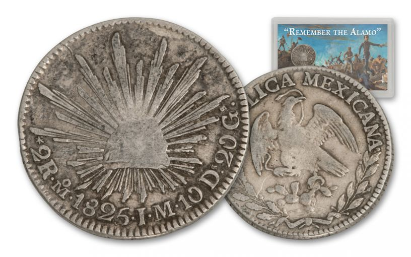 1825-1836 Mexico Silver 2 Reale Cap & Rays