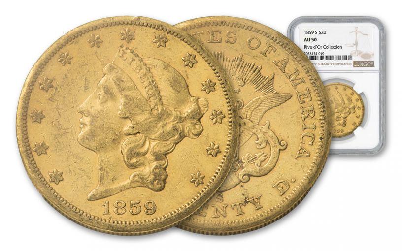 1859-S 20 Dollar Liberty NGC AU50 Rive D'OR