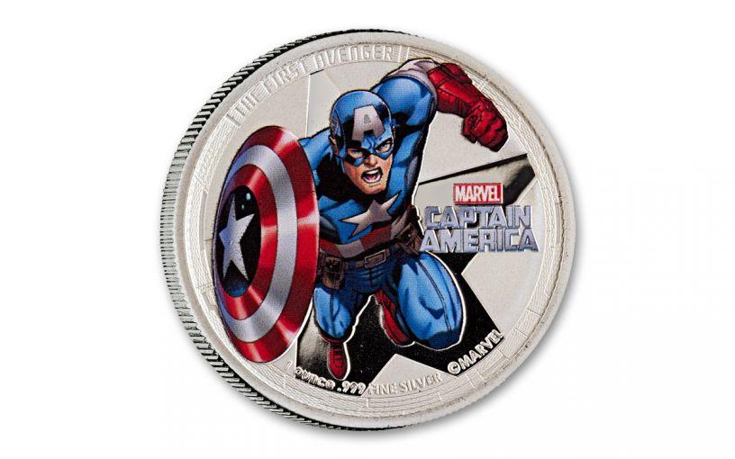 2014 Niue $2 1-oz Silver Avengers Captain America Proof