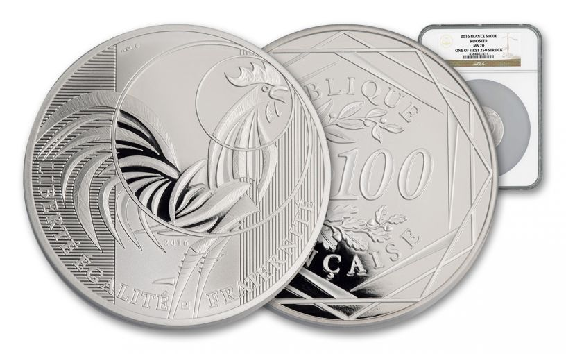 2016 France 100 Euro Silver rooster NGC MS70 First Struck