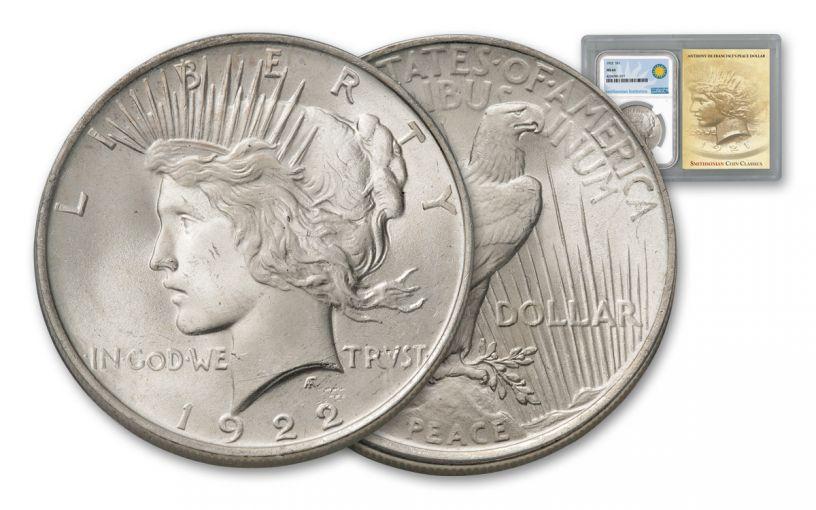 1922-P Peace Dollar NGC MS64 Smithsonian Coin Classics