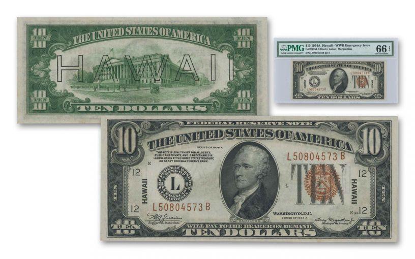 """1934 U.S. 10 Dollar Federal Reserve Note """"Hawaii"""" Mule PMG 66EPQ"""