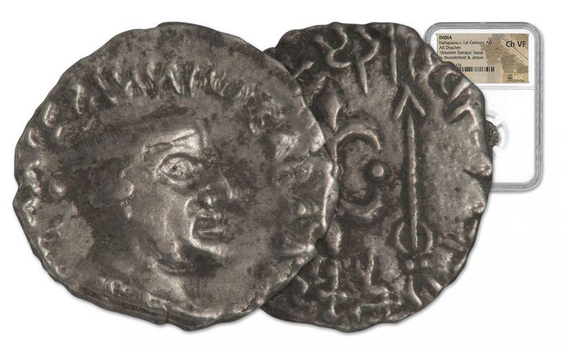 85-65 BC Ancient Silver Drachm of King Nahapana NGC VF+