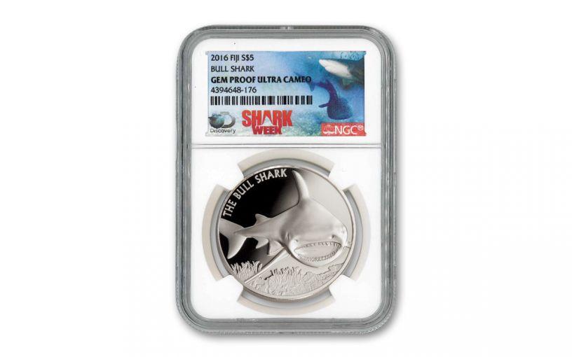 2016 Fiji $5 1-oz Silver Bull Shark NGC Gem Proof - Shark Week Label