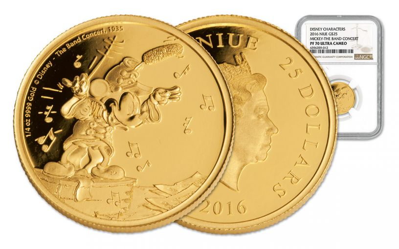 2016 Niue $25 1/4-oz Gold Mickey The Band Concert NGC PF70UC