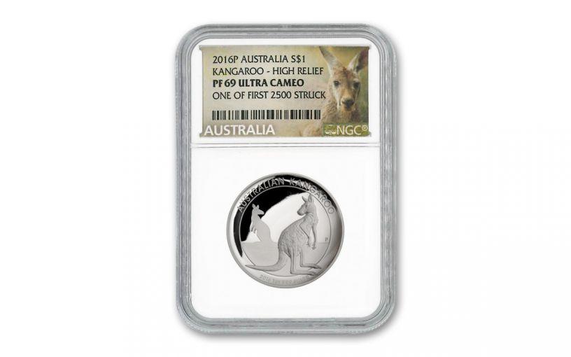 2016 Australia $1 1-oz Silver Kangaroo High Relief Proof NGC PF69UC First Strike