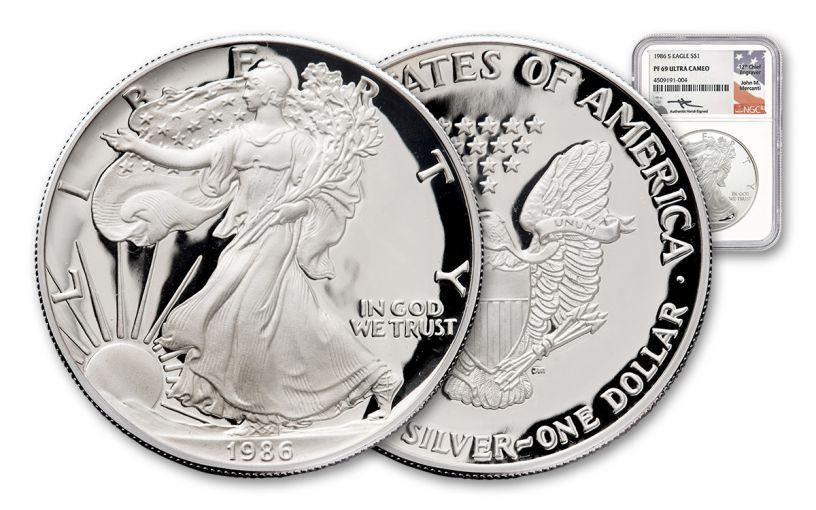 1986-S 1 Dollar 1-oz Silver Eagle NGC PF69UCAM Mercanti Signed