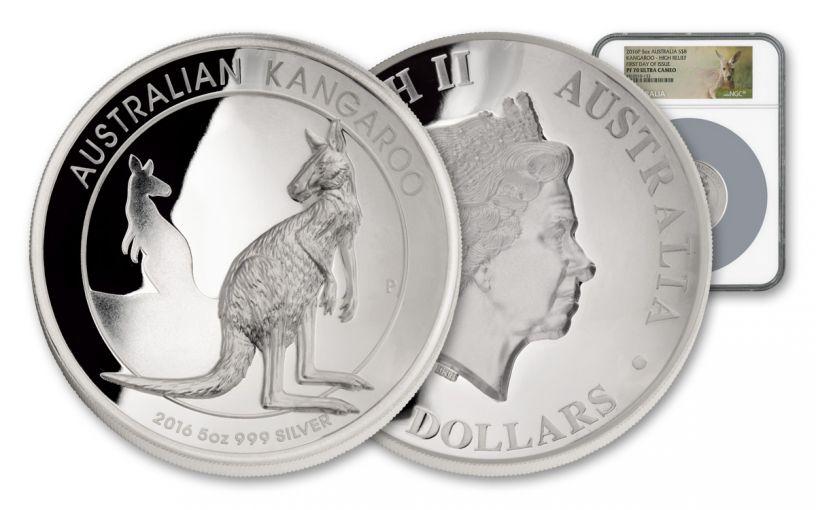 2016 Australia $8 5-oz Silver Kangaroo High Relief NGC PF70UC First Day of Issue w/Kangaroo Label