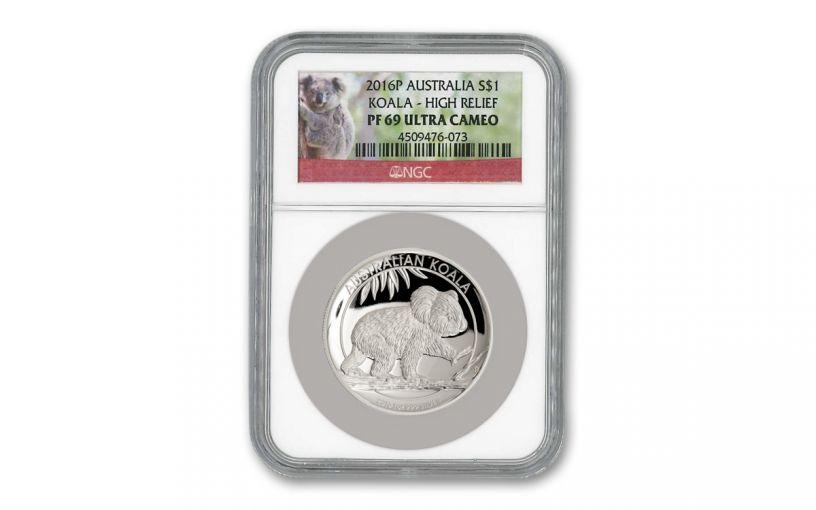 2016 Australia $1 1-oz Silver Koala High Relief Proof NGC PF69UC
