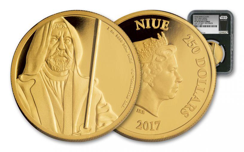 2017 Niue 250 Dollar 1-oz Gold Star Wars Classic Obi-Wan Kenobi NGC PF69UCAM First Struck - Black