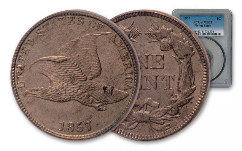 1857 1 Cent Flying Eagle PCGS MS63 (Snow-16 Variety)