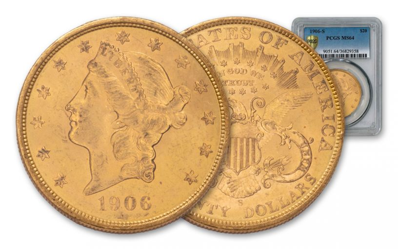 1877-1907 20 Dollar Gold Liberty with Motto Double Eagle NGC/PCGS MS64