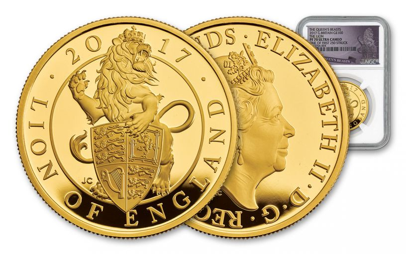 2017 Great Britain 100 Pound 1-oz Gold Queen's Beasts The Lion NGC PF70UCAM First Struck