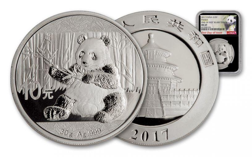 2017 China 30-Gram Silver Panda NGC MS69 FDI - Black