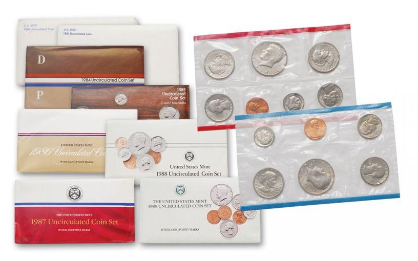 1980-1989 U.S. Mint Set 8-Pc Collection