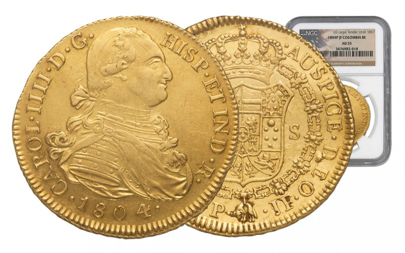 1772-1824 Spain Gold 8 Escudo NGC AU