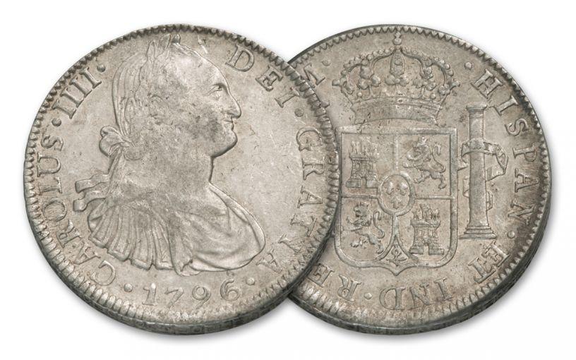1789-1797 Spain 8 Reales Silver Fine George Washington