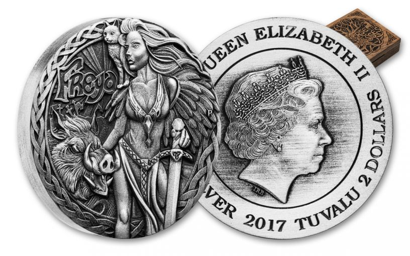 2017 Tuvalu 2-oz Silver Norse Goddesses Freya Antiqued High Relief Coin