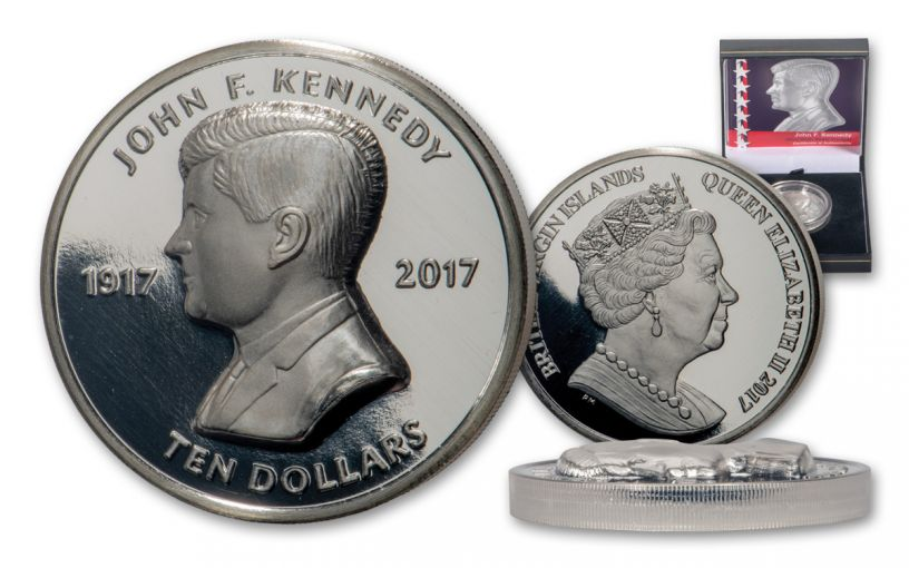 2017 British Virgin Islands $10 2-oz Silver JFK Centenary Ultra High Relief Proof + Purple Swarovski Crystal