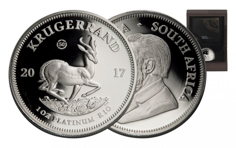 2017 South Africa 1-oz Platinum Silver Krugerrand Proof