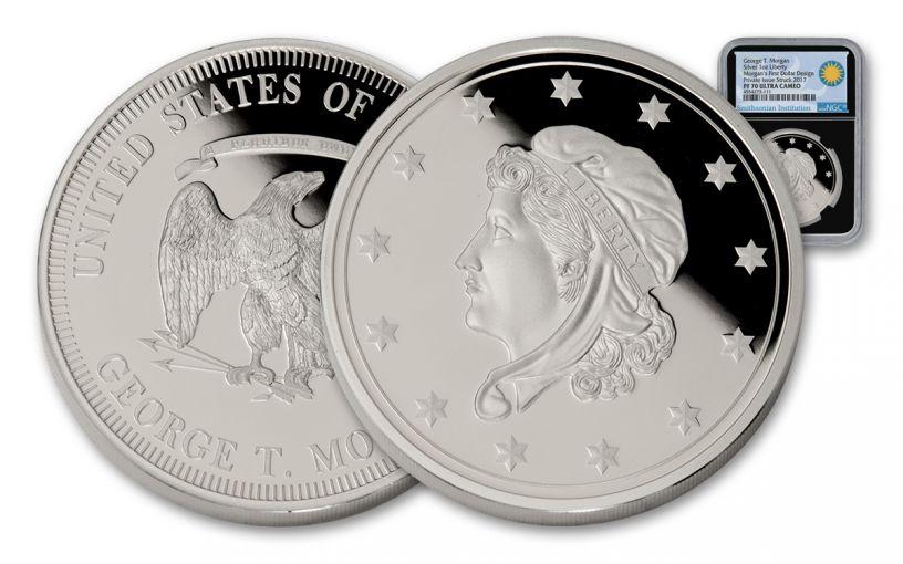 Morgan's First 1-oz Silver Dollars Smithsonian Institution NGC PF70UCAM - Black