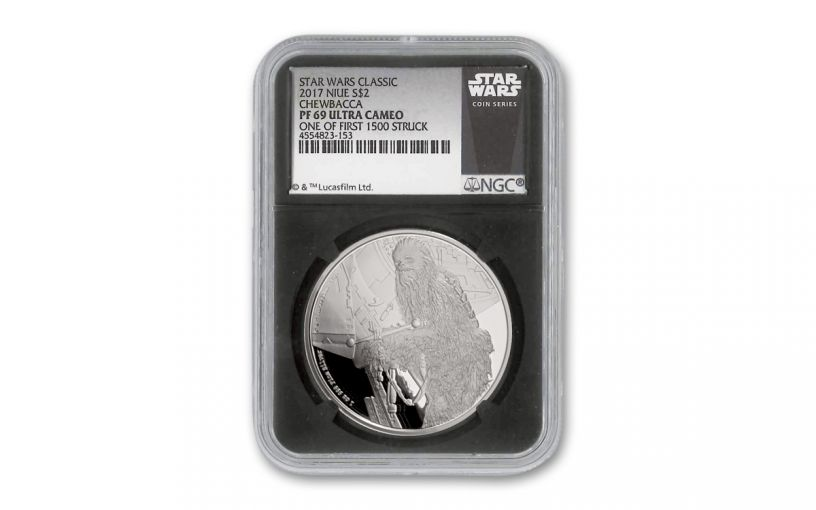 2017 Niue $2 1-oz Silver Star Wars Chewbacca Proof NGC PF69UC First Strike