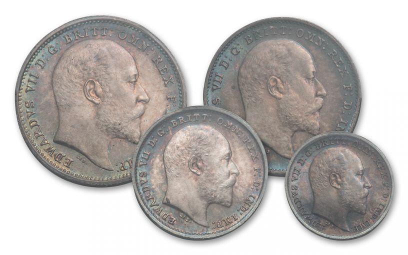 1904 Great Britain Silver King Edward VII Maundy Set PCGS PL67 4pc