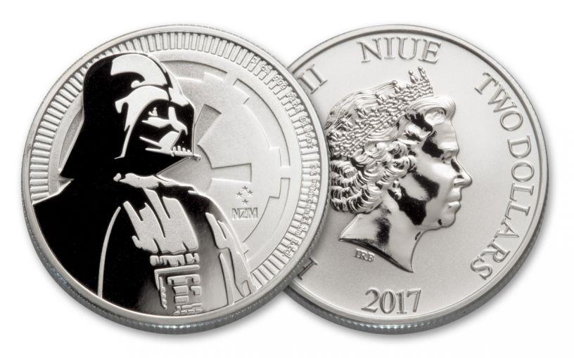 2017 Niue 2 Dollar 1-oz Silver Star Wars Darth Vader BU