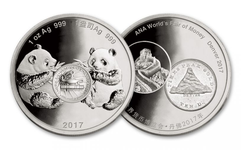 2017 China 1-oz Silver Denver Ana Show Panda Proof