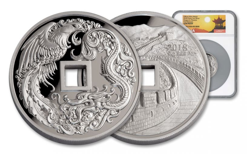 2018 China 2-oz Silver Phoenix & Dragon Medal NGC Gem Proof First Releases