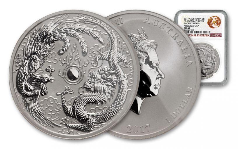 2017 Australia $1 1-oz Silver Dragon & Phoenix NGC MS69 Mirrored Gap Error