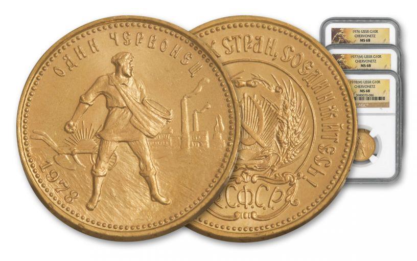 1976-1978 Soviet Russia 10-Rouble Gold Chervonetz 3 piece Set NGC MS68